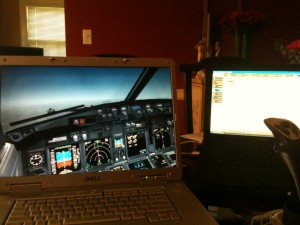 My FSX rig and accompanying Mac.