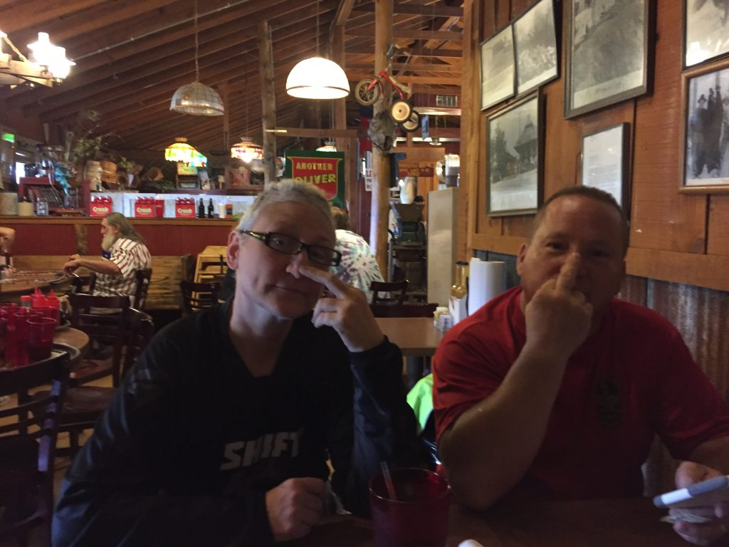 Lisa and Bob sending their best wishes at lunch in Monteagle, TN