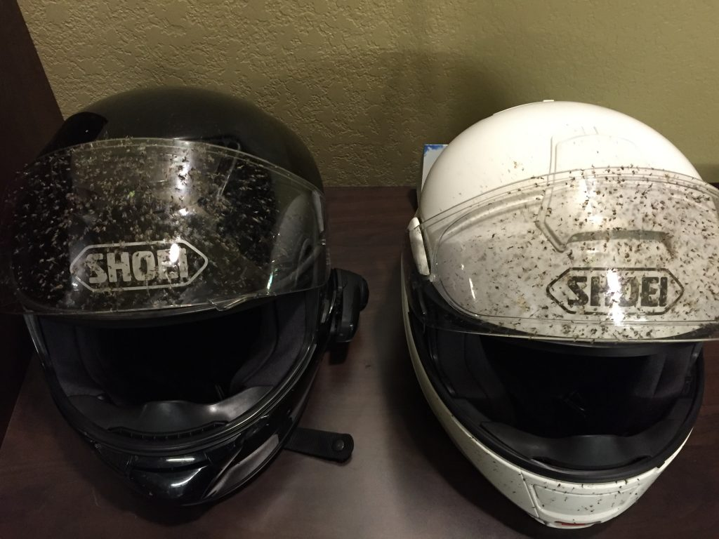 Our helmets (Bob's on left) after a night of bugs getting to Searcy