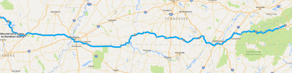Our 600+ mile route from Maggie Valley to Searcy, AR