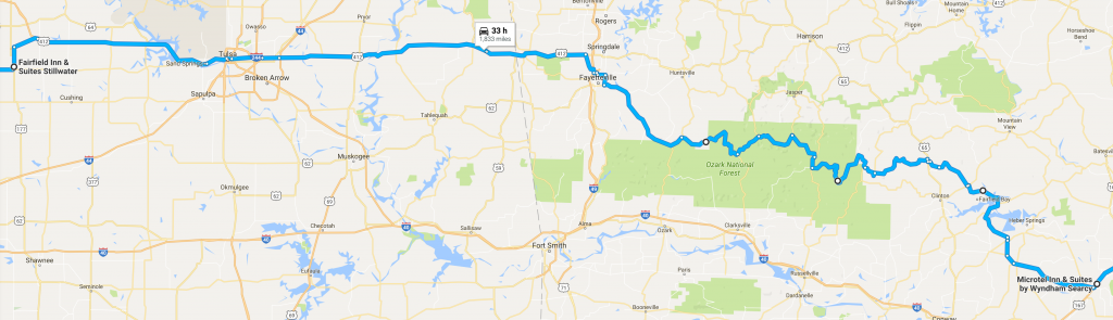 Day 3's route to Stillwater, OK. A twisty run in the Ozarks!